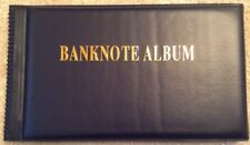 Dark Blue Banknote Album. Fits 40 + Banknotes. Collectors Supplies.