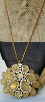 Vintage Christian Dior '71 Date Germany Rhinestone Faux Stone Pendant Necklace
