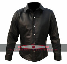 Mens Black Leather Full Sleeve Shirt Brand New High Quality