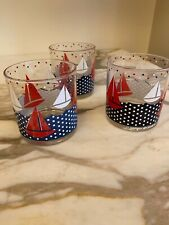 Set of 3 Georges Briard Mid Century Low Ball Rocks Old Fashion Glasses Sail Boat