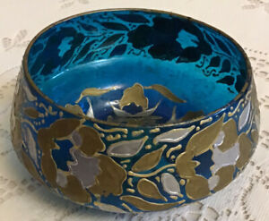 Vintage Blue Trinket Candy Dish Blown Glass Painted Gold & Silver Flowers