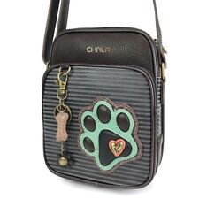 NEW CHALA DENIM BLUE STRIPE DOG PAW ORGANIZER CROSSBODY FAUX LEATHER CANVAS