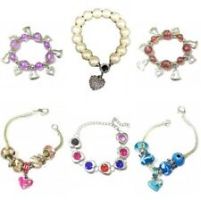 Silver Love Heart Bracelet Bangle Pearl Crystal Diamante Charms Beads Party UK
