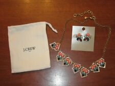 NWT $56.50 J.CREW NEON CORAL TURQUOISE STATEMENT NECKLACE + $26.50 EARRINGS SET!