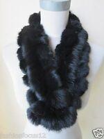 Women 100% Real Handmade Rabbit Fur Scarf Winter Warm Soft Neckerchief  Black
