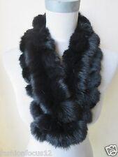 Winter warm  latest style real handmade rabbit fur neckerchief  /scarf/ black