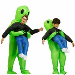 Halloween Adult Inflatable Monster Costume Green Alien Carrying Human Cosplay up