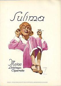 Original vintage poster print SULIMA CIGARETTES 1926 Hohlwein