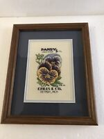 Vintage Handmade Counted Cross Stitch Framed 9 X 11 PANSY Childs & Co Seed Ad