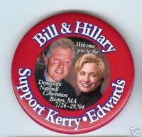 HILLARY + Bill CLINTON 2004 DEMOCRATIC CONVENTION Pin