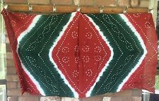 Sarong Cotton Bandhini Indian Tie Dyed Scarf  Rust white Forest Green New