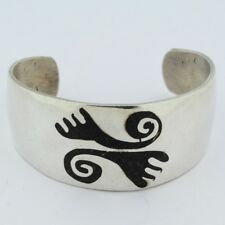 Vintage Mexican Sterling Silver Onyx Inlay Cuff Bracelet Tribal Design
