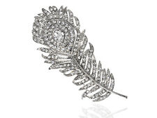 Lady Silver Fiery Phoenix Peacock Bird Ice Crystal Rhines Feather Pin Brooch New
