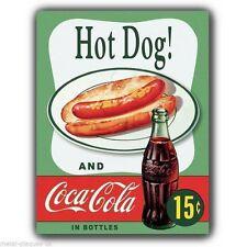 METAL SIGN WALL PLAQUE - HOT DOG AND Coca Cola - Vintage Retro poster art print