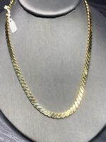 """Ladies Good Quality Gold Plated 16"""" Chunky Heavy Flat Chain Necklace England"""