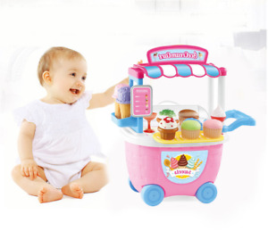 Kid Children Trolley Kit Ice Cream Beauty Shop Role Play Learning Toy Gift Set