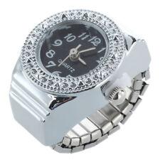 Strass Ring Uhr Ringuhr Fingeruhr Quarzuhr Uhrenring Legierung Unisex Schwarz