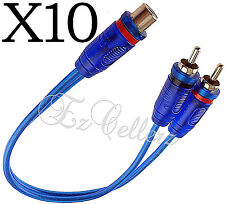 10 - 2 Male 1 Female Y Splitter Blue Rca Cable Gold Plated Audio Cable Flexible