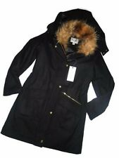 Cole Haan Womens Wool Blend Jacket Removable hood Faux fur Black Size 4