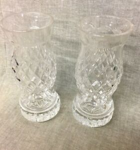 """Pair of Waterford Hurricane/Votive Candle Holders Lamp 7-1/4"""" Tall"""