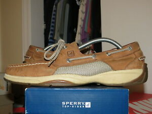 Sperry Top-Sider Intrepid Men's 11 M 0276308 Tan Leather 2 Eye Lace Boat Shoes