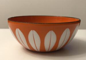 "Vintage Cathrineholm Enamelware 4"" Orange/White Lotus Bowl"