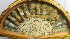ANTIQUE 19c FRENCH HAND PAINTED FAN W/ROMANTIC SCENES OF LIFE 1600s,SHADOW BOX