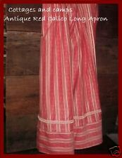 Authentic 1900 Antique Victorian Red Calico Long Half Apron Excellent Primitive