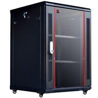 """18U 24"""" depth IT Wall Mount Network Server Cabinet Case Box PDU Shelf Feet Fan"""