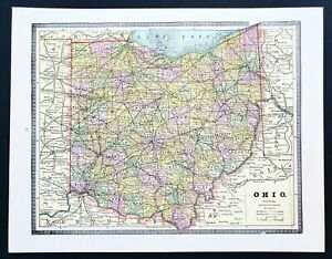 1877 OHIO RAIL MAP Dayton Alliance Amherst Fostoria Maumee old HISTORY HUGE RARE