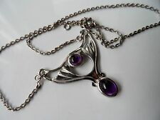 Brand New Sterling Silver Celtic Art Nouveau Style Purple Stone Necklace 15.5""