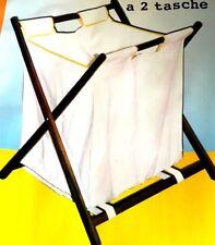 Cesto portabiancheria doppio salva spazio  2 sacchi per biancheria richiudibile