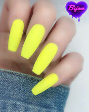 20 Set Matte Yellow Neon Hand Painted Press On Fake False Nails Glue Glitter