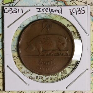 1935 IRELAND HALF PENNY COLLECTOR COIN FREE SHIPPING
