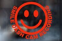 2x Smile Dash Cam Recording  Warning Vinyl Decal Sticker Window Car Van Wall RED