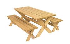 Retro - Set da giardino, composto da tavolo e panche in legno di pino massiccio.