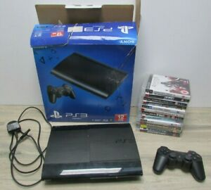 Sony PlayStation 3 PS3 Super Slim CECH-4203A Boxed Working + Controller 12 Games