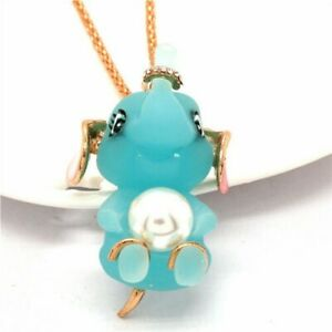 Betsey Johnson Pearl Elephant Baby Blue 3D Gold Pendant Necklace Free Gift Bag