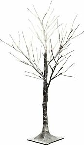 Pre-Lit LED Twig Tree with Snow Effect Decoration, 3 feet/90cm -Brown/Warm White