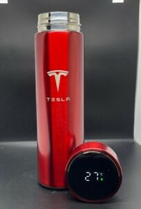 Smart Thermos Red Water Bottle With LOGO Temperature Display Tesla 480ml