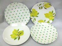 "4 KATE SPADE Tidbit Plates Lemon / Green Polka Dots MELAMINE 6"" New York New"