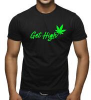Men's Get High Weed Leaf Black T Shirt Marijuana Blunt Cannabis Marijuana V452