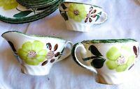 3 pc Vintage Blue Ridge Southern Potteries Creamer Sugar Bowl Cup Green Briar