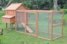12' Wood Hen Chicken Duck poultry Run Hutch House Coop Cage with 6 nesting boxes