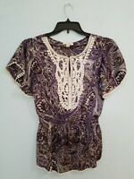 Dressbarn Women's Blouse Top Short Sleeve Keyhole Neck Print Crochet. Size Small