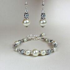 Vintage ivory cream grey pearl bracelet silver wedding bridesmaid jewellery set