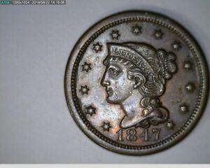 1847 Large Cent Braided Hair  ( 52-312 5M/o )