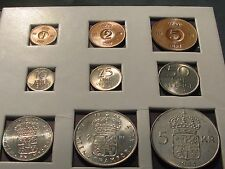 SWEDEN: COMPLETE (9) COIN SET 1950 to 1969.  BEAUTIFUL COINS in Original Folder.