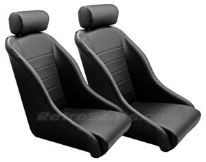 67911R RETRO CLASSIC VINTAGE RACING BUCKET SEATS PVC / PERFORATED PAIR W SLIDERS