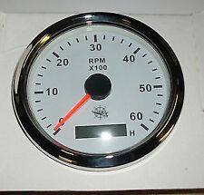Contagiri bianco con bordo inox lucidato+contaore digitale 0-6000 rpm